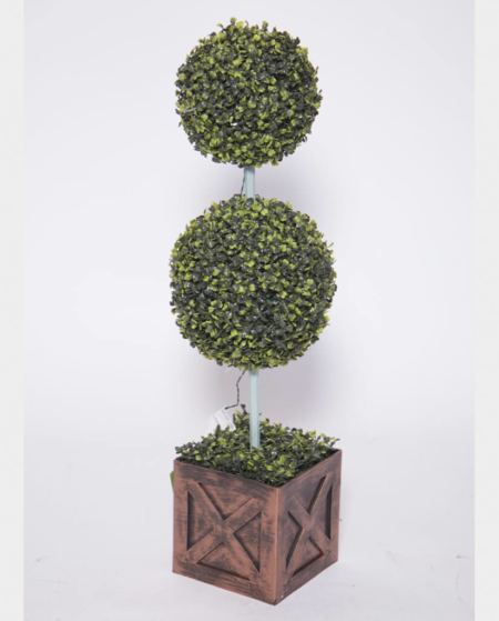 Tall Round Mult-Tier Topiary with Wood Base