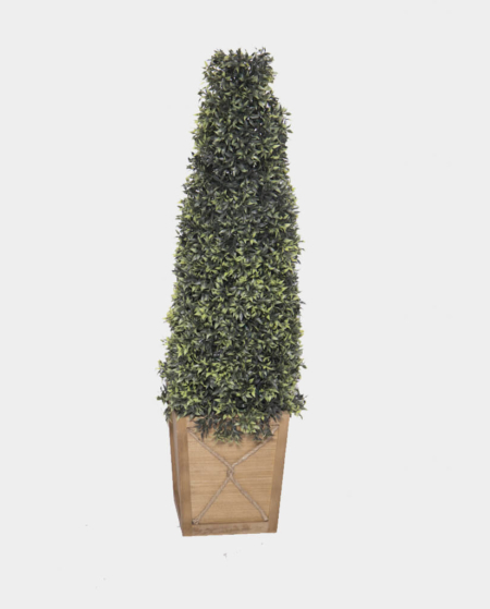 Tall Topiary with Wood Base & Battery Operated Lights