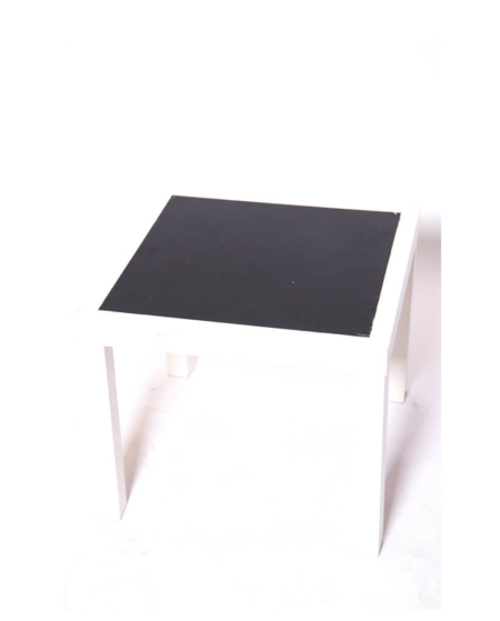 Wood White with Chalk Black Top Side Table