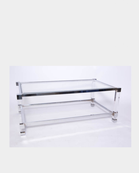 Clear Glass Rectangle Coffee Table with Chrome Trim