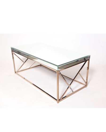 Glass Coffee Table with Mirror Top and Chrome Gold legs