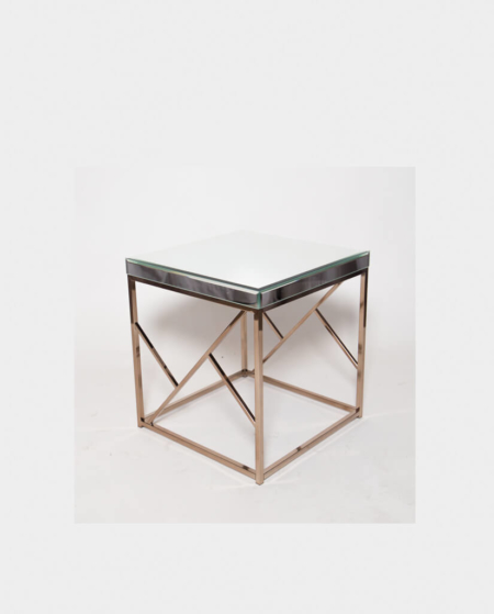 Rose Gold Side Table with Mirror Top