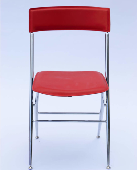 Red Leather Folding Chair